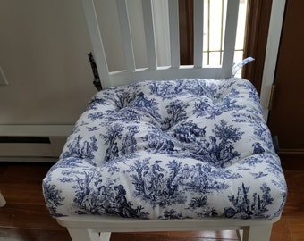 RTS Tufted Chair Pad, Seat Cushion, Bar Stool Cushion, Waverly Rustic  Toile, Navy Blue White, Indoor Outdoor Polyester