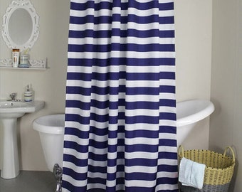 Navy Blue And White Horizontal Stripe Fabric Shower Curtain Cotton Print 72 84 90 96 108 Custom Made