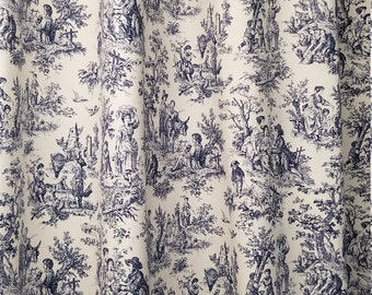 Toile Shower Curtain Navy Blue And White Cotton Print 72 84 90 96 108 Waverly Rustic