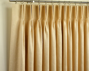 Two Panels Pleated Linen Curtains Triple French Pleats Curtain Drape UNLINED Semi Sheer Off White Or Choose Color