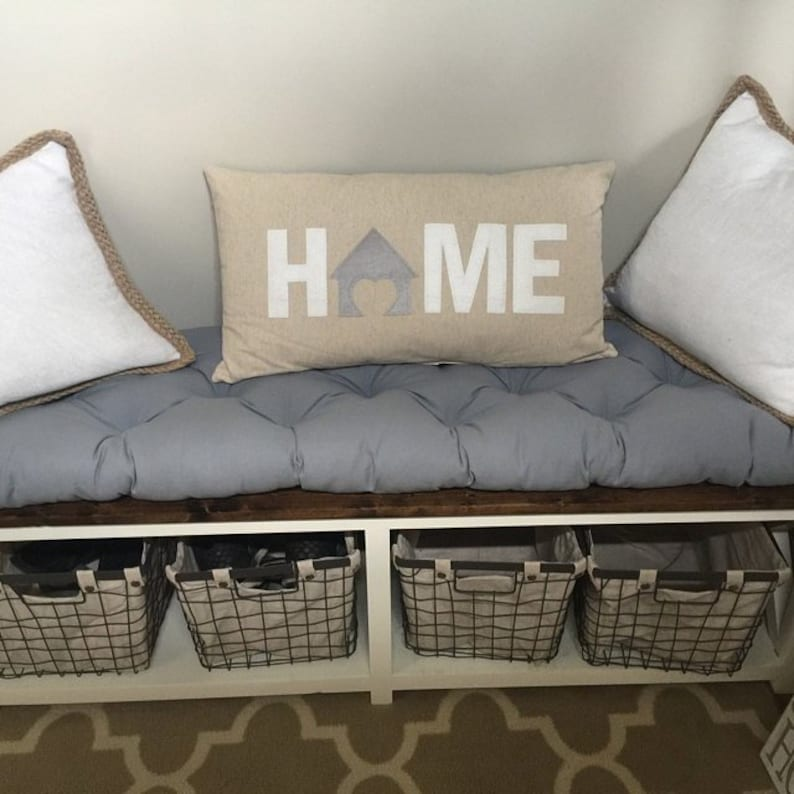 navy natural white school house cushion cotton canvas grey black Tufted bench cushion red other colors