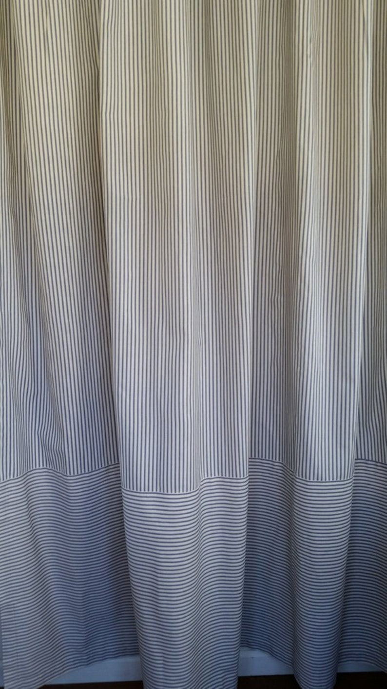 Classic Ticking Stripe Shower Curtain Two Way Stripes Navy Blue And Ivory Cotton