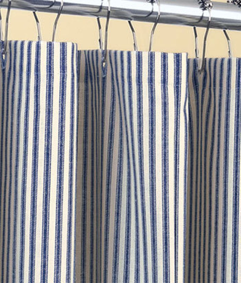 Classic Ticking Stripe Shower Curtain Navy Blue And Ivory