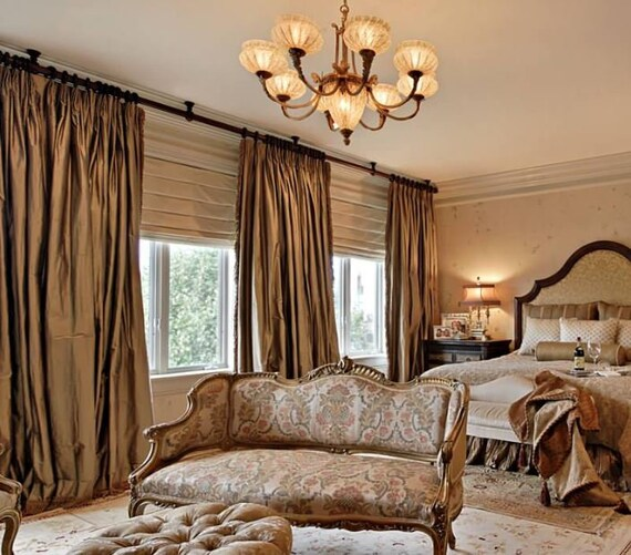 Fabricut Dupioni Silk drapes Bronze Pinch pleat drapes | Etsy