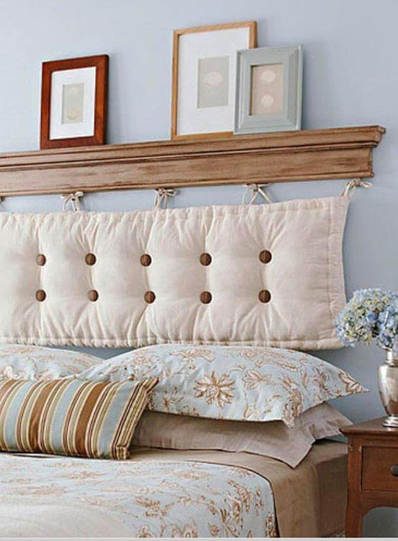 French Tufted Headboard With Wooded Buttons Cotton Canvas Cushion With Ties Bench Back Rest Custom Sizes