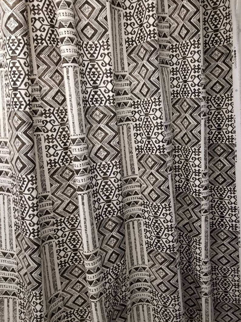 Fabric Shower Curtain Tribal African Mud Print Black Spice Cotton Print 72 X 72 84 90 96 108 Custom Sizes Available