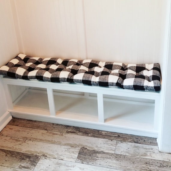 Pleasing Black And White Anderson Buffalo Plaid Tufted Bench Cushion Cotton Seat Cushion Black Ecru Navy Blue Caraccident5 Cool Chair Designs And Ideas Caraccident5Info