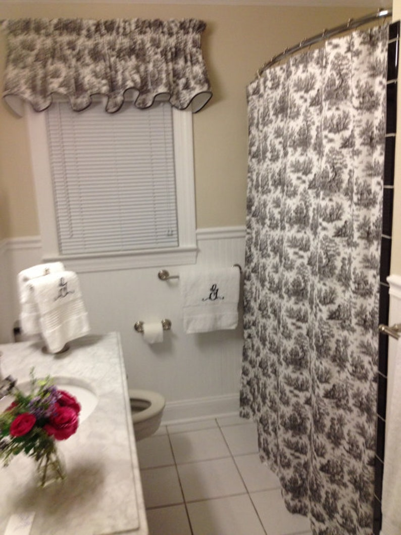 Toile Shower Curtain Black And White Cotton Print 72