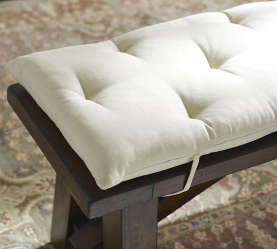 Fantastic Vanity Stool Cushion 18 X 12 Tufted Stool Cushion White Natural Creativecarmelina Interior Chair Design Creativecarmelinacom