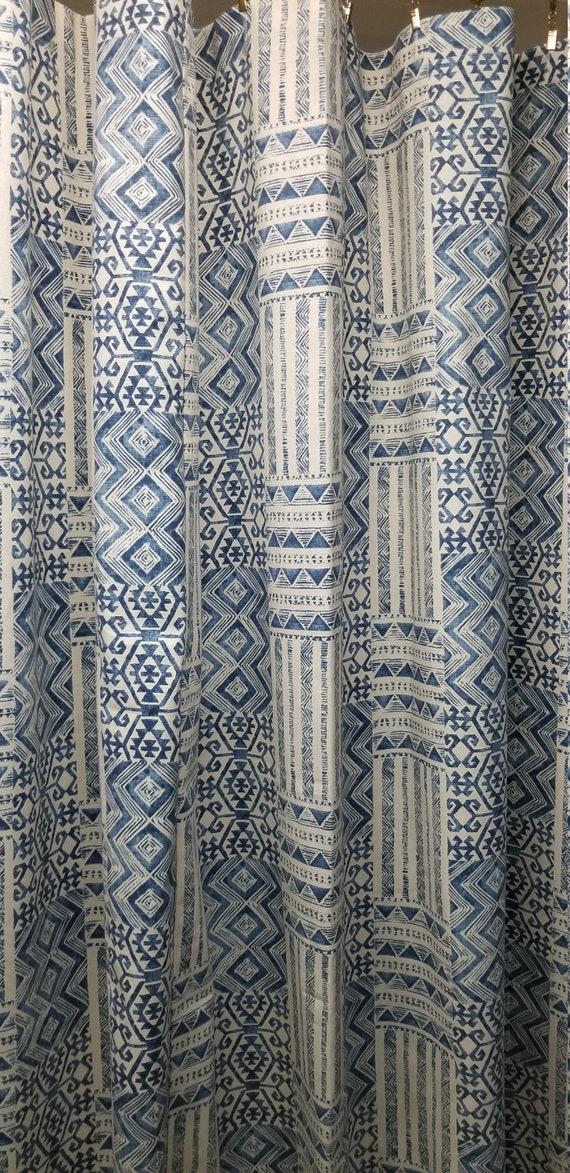 Custom Made Fabric Shower Curtain Izett Tribal Denim Blue