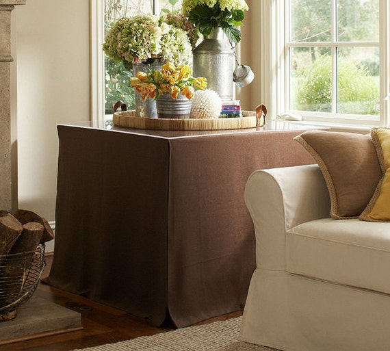 Custom Made Linen Table Skirt Console Table Skirt Tailored