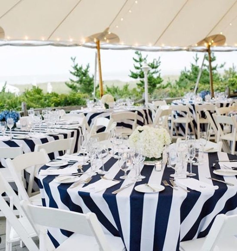 Beau Navy Blue And White Stripe Tablecloth, Black And White Round Tablecloth  Wedding, Party Tablecloth, Custom Sizes