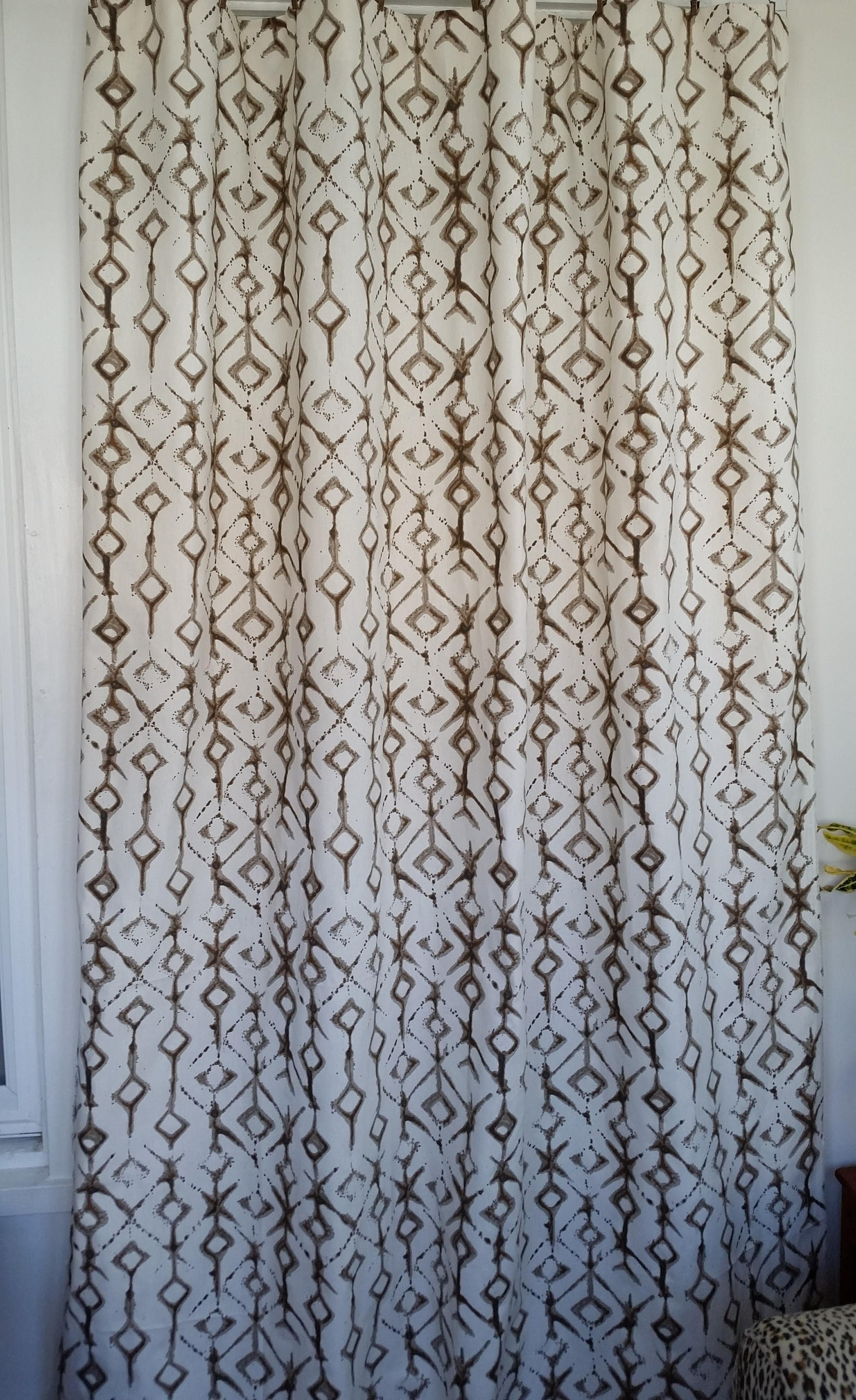 Fabric Shower Curtain Tribal Print Ecru And White Cotton 72 84 90 96 108 Custom Sizes Available
