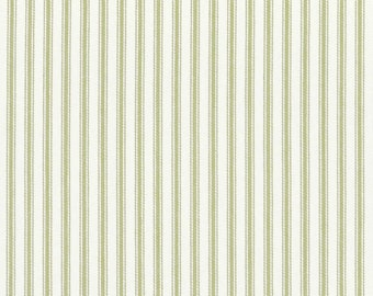 Classic ticking stripe window curtains, 50W x 90L, sage green and creamy ivory, cotton fabric