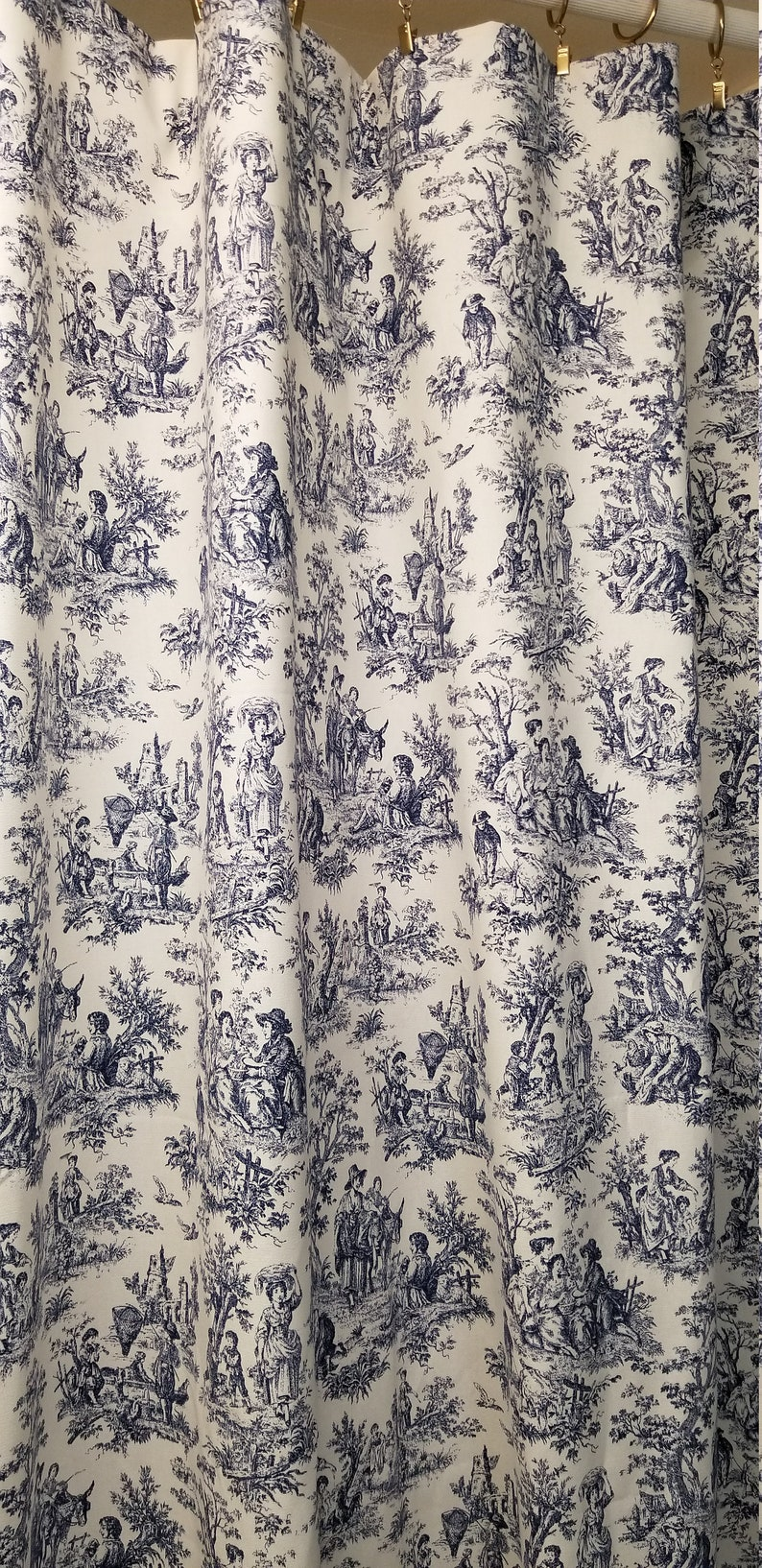 Toile Shower Curtain Navy Blue And White Cotton Print