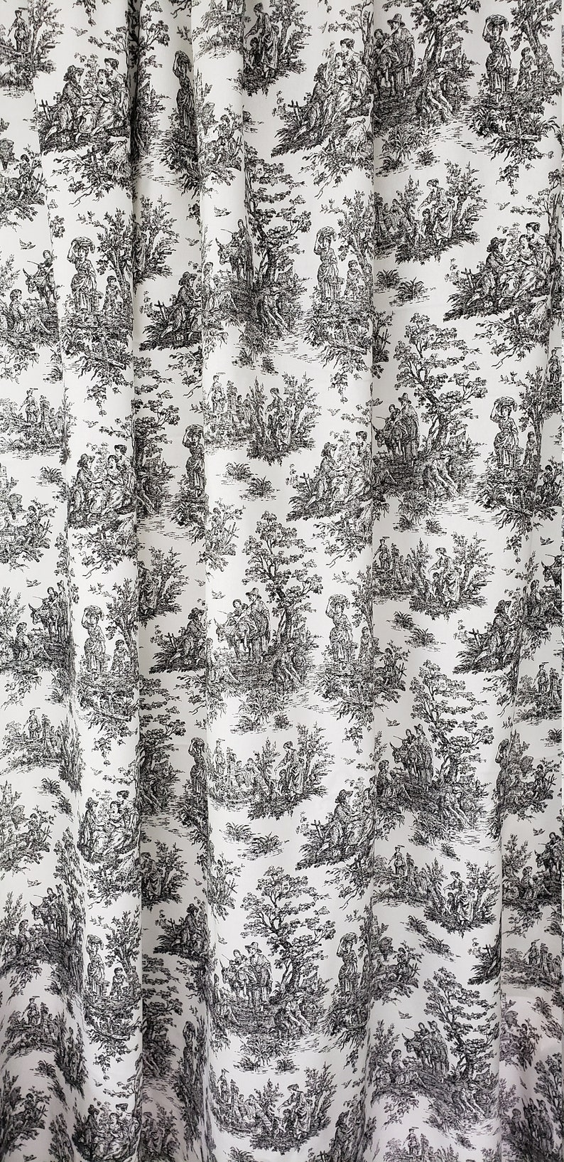 toile drapes, Black and white toile curtain panels