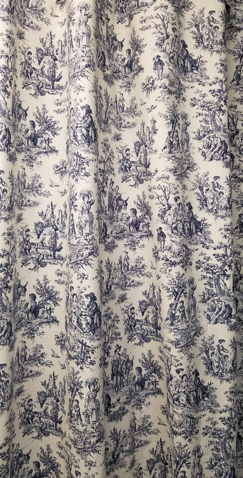 Toile Shower Curtain Navy Blue And White Cotton Print 72 84 90 96 108 Waverly Rustic Toile