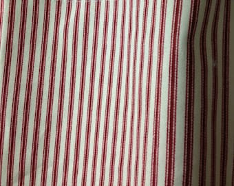 Red and ivory ticking curtains, drapery panels, Pair (two 50W panels)  drapes, cotton drapes