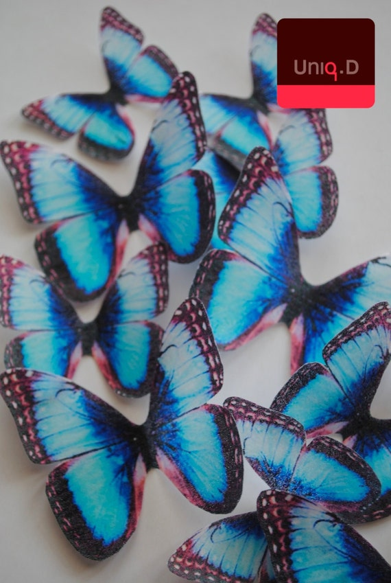 25 Blue Butterflies cake toppers Edible cupcake decor rice paper Card stand up