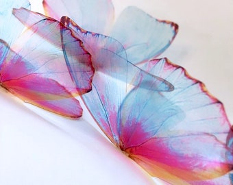 NEW set FAIRY WINGS - light blue and pink butterflies - 3D unicorn fairy  adhesive butterfly - wall art butterfly - butterfly wall decor