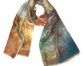 OOAK, Carina Nebula Wool Galaxy Scarf, Galaxy Printed Shawl.