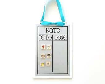 Magnetic Chore Chart - 9x13 personalized to do list chore board for kids or adults - chore magnets optional -fun font