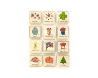 Holiday - Magnet Set of 12 -   Calendar Magnets - Magnetic Calendar Magnets - Command Center Magnets