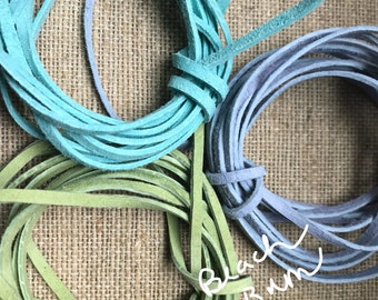 Suede, choice of Sample packs, three colors two yards each, suede lace, leather lace, 3mm Suede Made in the USA, Mix of Suede lace, Suede, S