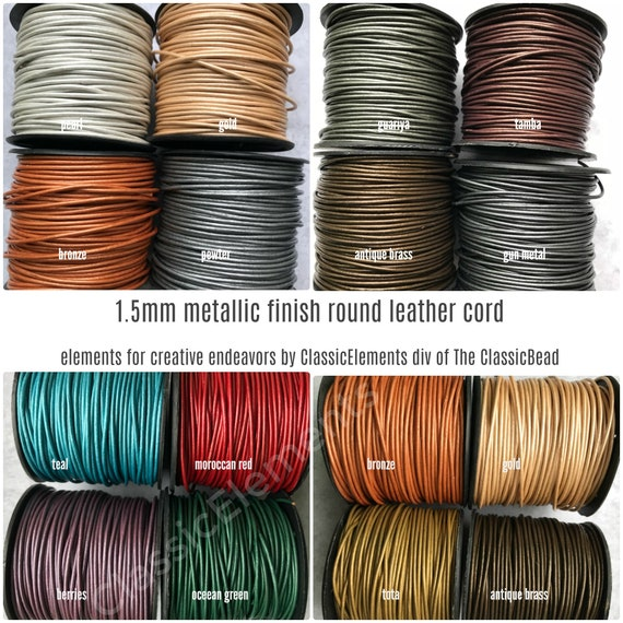 Kansas, 2mm 25 Yard Spool of Round Leather Cord