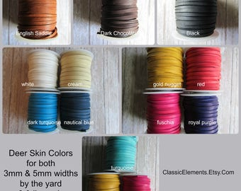 5mm Deerskin Leather Lace By the Yard, Cut to Order 5mm Deer Skin Lace Sold by the Yard, Four yards or more