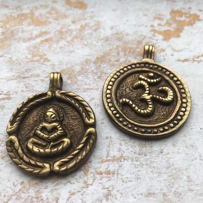 Yoga Pendant pendants buudha pendant OM or Buddha Pendant yoga Buddha OM pendant Amulet Brass pendant brass