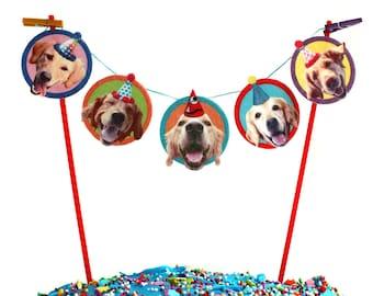 Golden Retriever Dogs Birthday Cake Garland - photo reproductions on felt - funny golden retriever portraits birthday bunting
