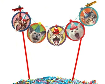 Birthday Cats Cake Garland - photo reproductions on felt, funny cat portraits cake bunting