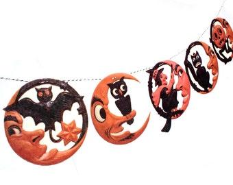Vintage Halloween Banner - man-in-the-moon photo reproductions - German die-cuts - 2D vintage Halloween decor