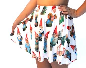 Vintage Garden Gnomes Skater Skirt - printed full-circle mini-skirt - teal, black or white backgrounds - USA XS-3XL