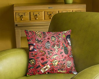Tattoo Flash Pillow Cover