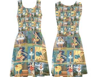 Vintage Paint by Number Dancers Skater Dress - printed flared tank dress - women's ballerinas dress - USA XS-3XL