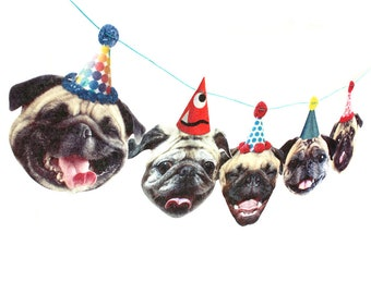 Pugs Dog Birthday Garland - party decoration for Pug lovers