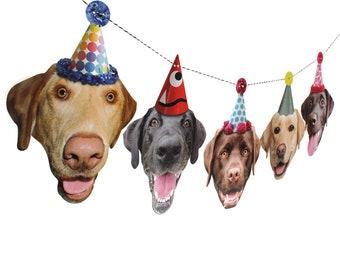 Labrador Dogs Birthday Garland - photo reproductions on heavy card stock - funny labrador retriever portraits birthday banner