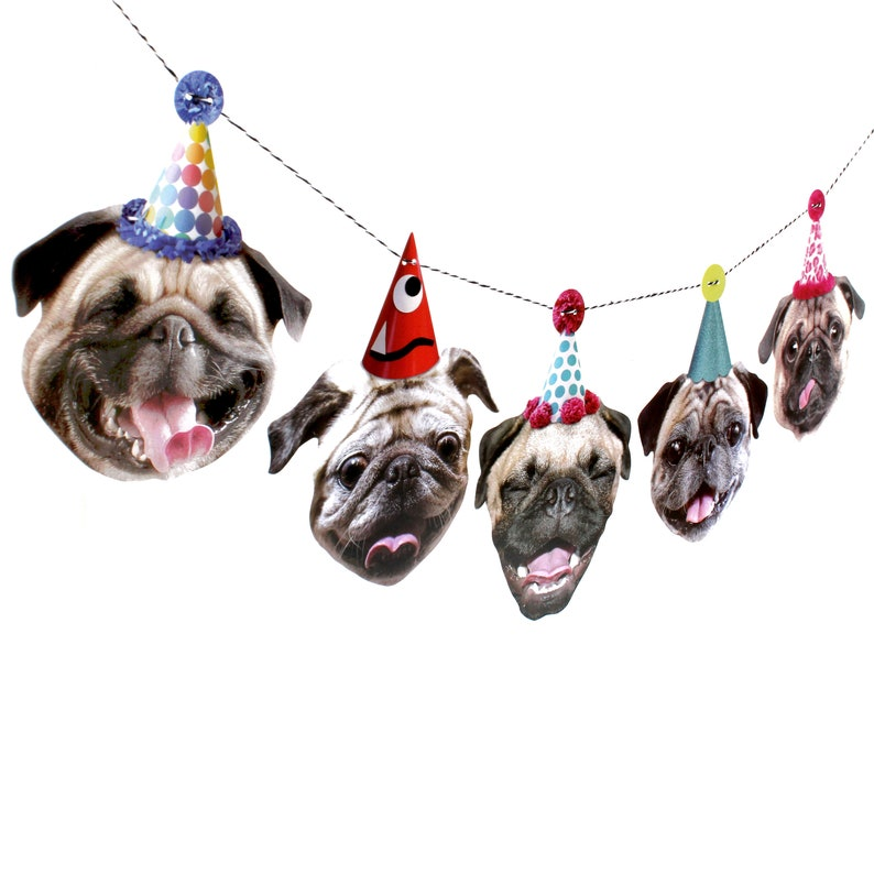 Pugs Dog Birthday Garland  party decoration for Pug lovers image 0