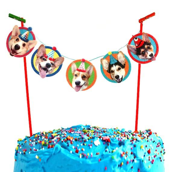 Corgi Dogs Birthday Cake Garland Photo Reproductions On Felt