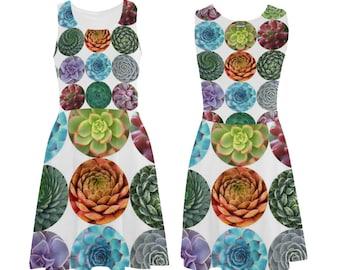 Succulents Skater Dress - printed flared tank dress - women's dress - photographic succulents dress - USA XS-3XL