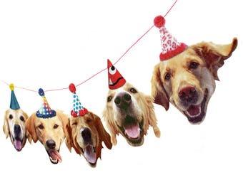 Golden Retriever Dogs Birthday Garland - photo reproductions on felt - funny golden retriever portraits birthday banner