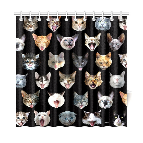 Cat Heads Shower Curtain - happy cat portraits novelty shower curtain - vivid photo reproductions - black or white background