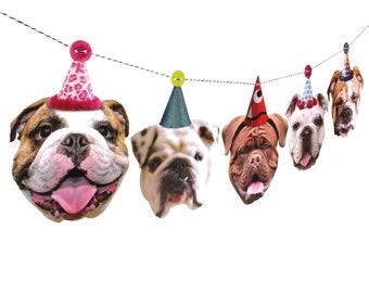English Bulldogs Birthday Garland - photo reproductions on heavy card stock - funny bullie dog portraits birthday banner
