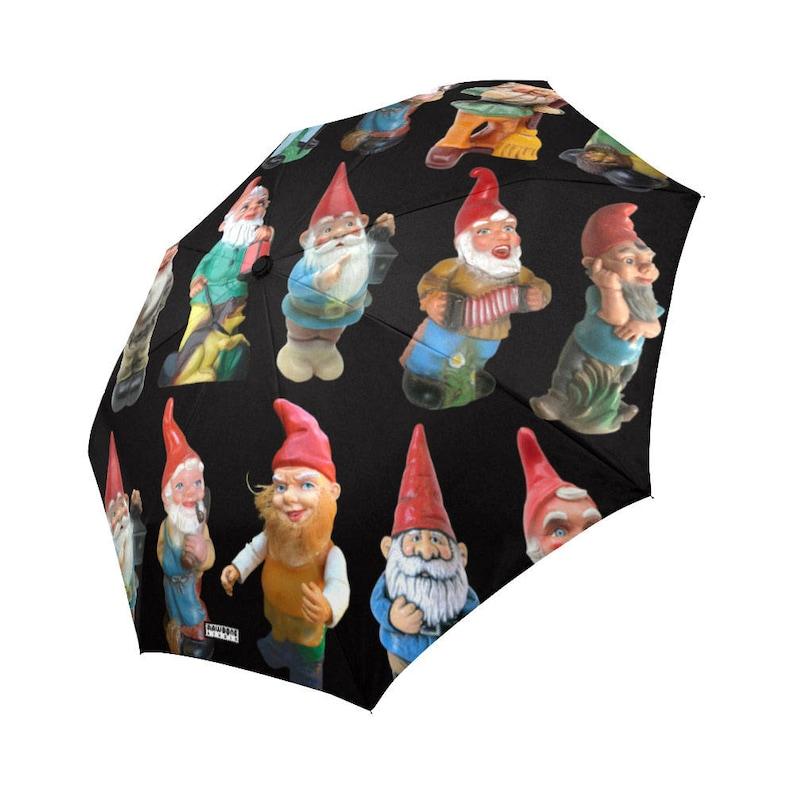 Vintage Garden Gnomes Rain Umbrella  photo-realistic gnomes  image 0