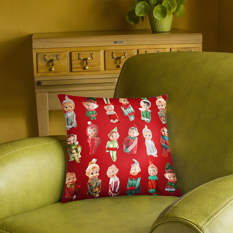 Vintage Christmas Elves Pillow Cover  photos of knee hugging image 0