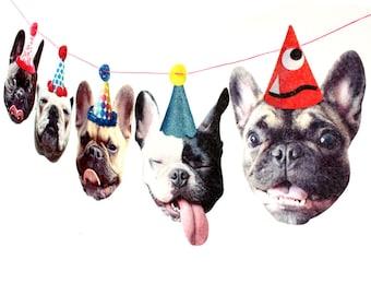 French Bulldogs Birthday Garland - photo reproductions on felt - funny Frenchie portraits birthday banner