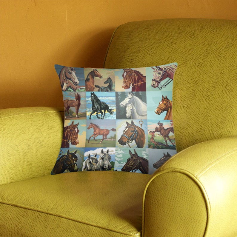 Paint by Number Horses Throw Pillow Cover  vintage paint by image 0