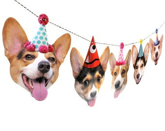 Corgi Dogs Birthday Garland - photo reproductions on heavy card stock - funny Corgi portraits birthday banner